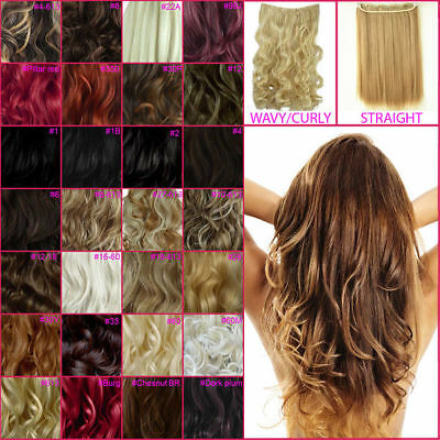 "20"" & 23"" ONE PIECE Clip In Hair Extensions Curly Wavy Straight All Colours"