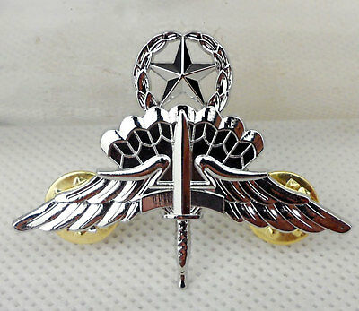 Metal Silver US Army Free Fall Jump Master Badge Pin Insignia Army Badge -D734