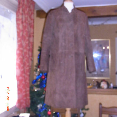 Manteau En Daim Marron Vintage Femme 60/70 Taille 40 - Brown Suede Leather Coat