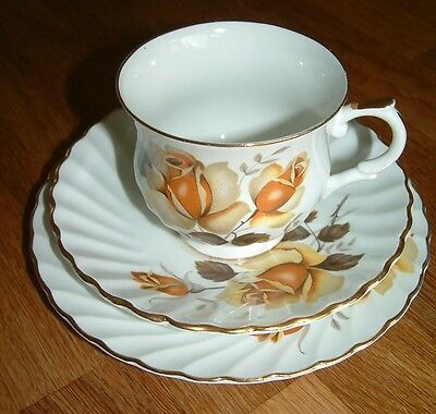 Vintage Trio Tea cup saucer plate Yellow Rose Gilded Old Foley English China