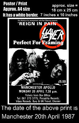 Slayer live concert at Manchester Apollo 20th of April 1987 A4 size poster print