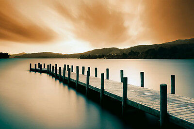 (LAMINATED) Jetty Sunrise Landscape Photography POSTER (61x91cm) Picture Print