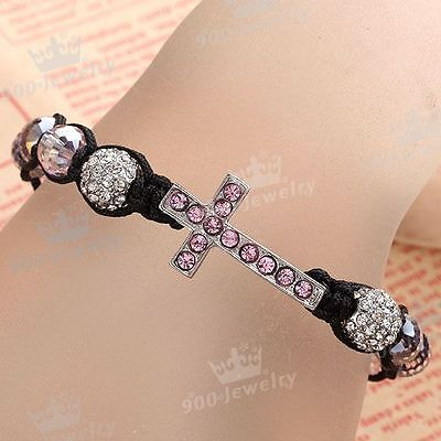 1Pc Pink Crystal Disco Ball Faceted Beads Cross Weave Macrame Unisex Bracelet