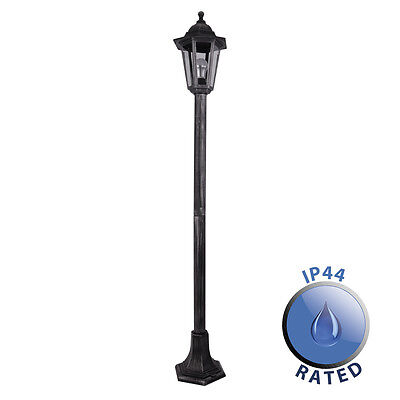 Traditional Brushed Silver / Black Outdoor Lantern Lamp Post Garden Light IP44