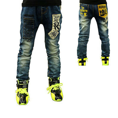 Kids Boys Girls Letters Printed Pants Denim Trousers Blue Toddlers Jeans Sz 2-7T