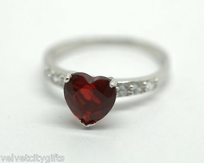Ladies Valentines 925 Sterling Solid Silver Red Heart Ring Gift Boxed Size M (6)