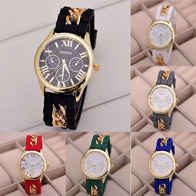 Fashion Women Girl Watch Silicone Roman Numerals Quartz Wrist Watches Excellent