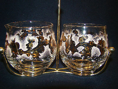 Libbey Glass Cream & Sugar with Caddy Gold Floral Vintage 1950's #3