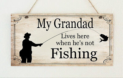 Grandad Plaque Fishing Wooden Sign Dad Brother Uncle Son Gift Present Birthday