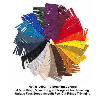 Neotrims Faux Suede Leather Tassel Fringe Trimming, 12 Colours, Boho Chic, Craft