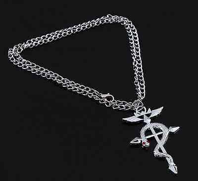 Fullmetal Alchemist Elric's Flamel Cross Symbol + Red Crystals Anime Necklace