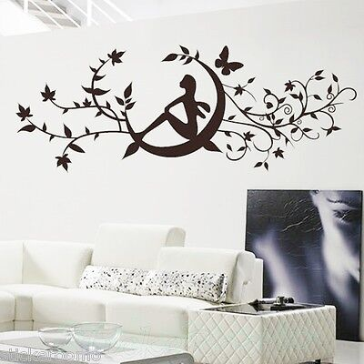 Flower Vine Moon Black Stickers Kit Wall Art Living Room Decal Home Decoration