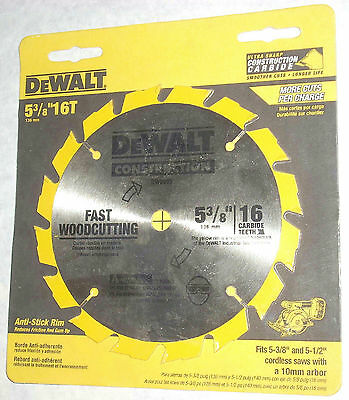 Dewalt DW9055 5 3/8 x 16 Tooth Cordless Circular Saw Blade Fast Wood Cutting