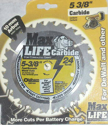 Max Life 538C424 5 3/8 x 24 Tooth Cordless Circular Saw Blade Carbide