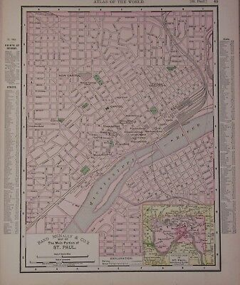 1895 St. Paul, Mn. Original Color Atlas Map^ Kansas City on Back .120 Years-Old!