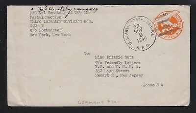 Usa 1945 Apo 82 In Germany Ps Cover From Third Infantry Division Hq To Newark
