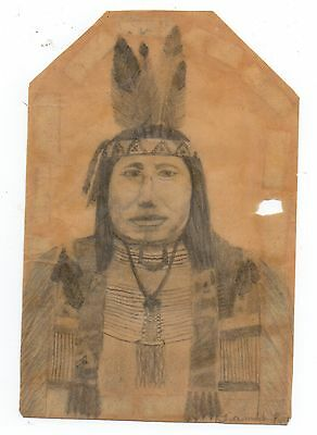 1890s Pencil Drawing on paper of Native American in Native Clothing