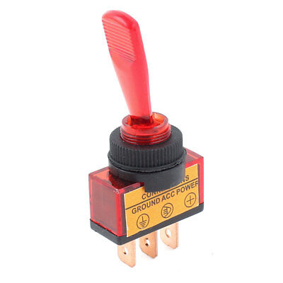 DC 12V Red Illuminated 2 Position ON/OFF SPST Car Boat Marine Toggle Switch