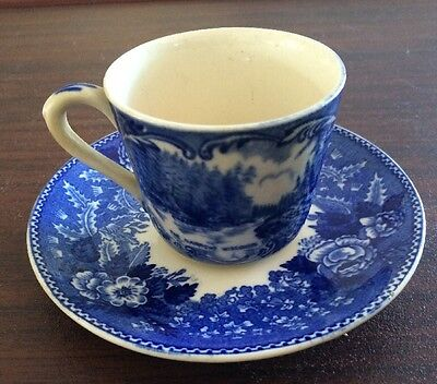 Flow Blue Jonroth Old English Staffordshire-ware Wisconsin Dells Cup and Saucer