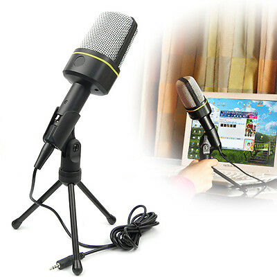 Desktop Stand Professional Condenser 3.5mm PC Computer Microphone MIC Skype MSN