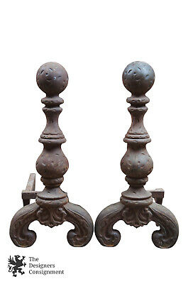 Vintage Early 20th Century Cast Iron Andirons Chenet Fireplace Pair Rustic