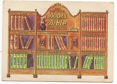 1940s Color Card showing the 66 different Books of the Bible