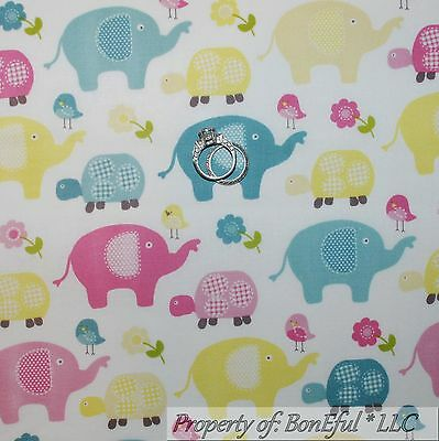 BonEful FABRIC FQ Cotton Quilt Blue Pink Elephant Turtle Flower Bird Baby Unisex
