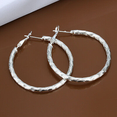 925 Sterling Silver Hoop Pierced Earrings L3