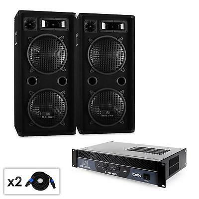 Pa System Dj Equipment Package Of Speakers & Amplifier 1500W Disco Party Amp Set