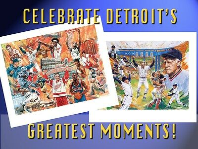 2 Detroit SPORTS Lithographs • FREE SHIPPING •