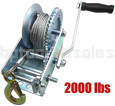2000lbs Dual Gear Steel Cable Hand Winch Hand Crank ATV Trailer Boat Heavy Duty