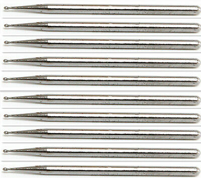 10x 1mm Diamond Coated Needle Round Tip 3mm Dia Shank Grinding Burrs Bits