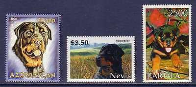 Rottweiler Dogs 3 different MNH stamps ROTT11