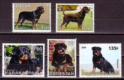 Rottweiler Dogs 5 different MNH stamps ROTT22