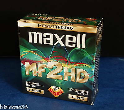 *** Pack De 10 Disquettes 1.44Mb - Maxell Hd / Mf2Hd - Neuves Sous Blister ***