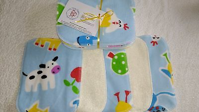Easy Peasy washable baby wipes Pk10 Bamboo and Boy Print Fleece! fleece/bamboo