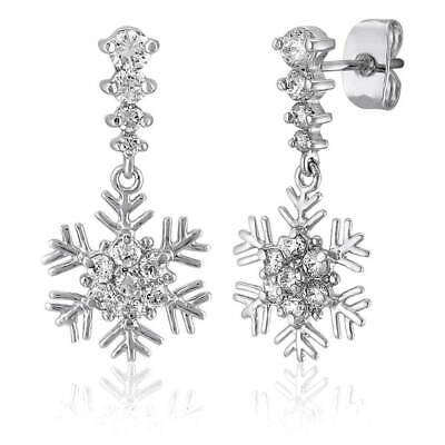 BERRICLE Sterling Silver Cubic Zirconia Snowflake Fashion Dangle Drop Earrings