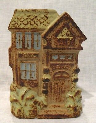 "Victorian House Big Palms Stoneware Pottery Blue Green 5"" Wall Pocket Vase"
