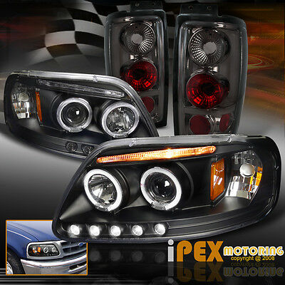 1997-2002 Ford Expedition Halo LED Projector Black Headlights + Smoke Tail Light