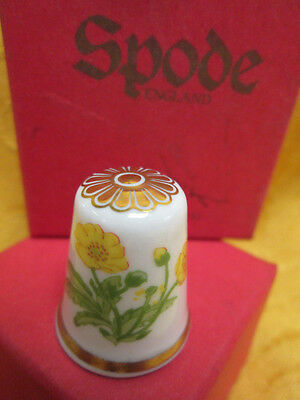 Yellow Flowers Thimble SPODE England in Box, Bone China