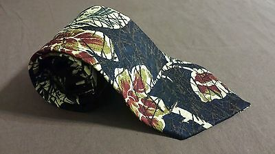 JAMES B FRIRCHILD MEN'S SILK NECK TIE. BLACK CREAM BURGUNDY GREEN BEIGE LEAVES