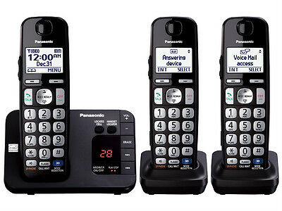 Panasonic KX-TGE233B DECT 6.0 Plus Cordless Phone w/ answering machine - Black