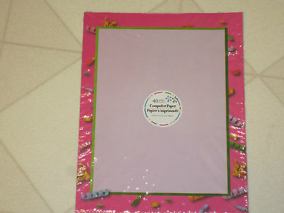 Computer Printer Paper New Package 40 Sheets Pink Ribbon Curls Border 8.5x11