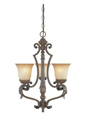 Venetian Bronze And Gold 3 Light Chandelier With Fresco Beige Glass