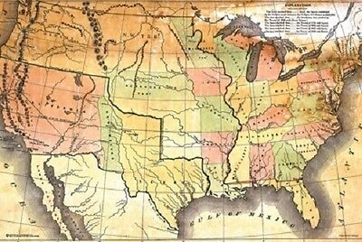 ANTIQUE STYLE USA MAP POSTER (61x91cm)  PICTURE PRINT NEW ART