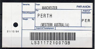 GB / AUSTRALIA, 1994 AIR MAIL Bag Label, MANCHESTER to PERTH. (21/12/94). `07GB