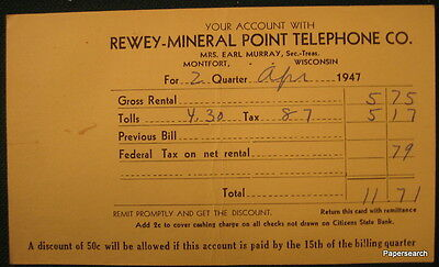 April 1947 Bill Rewey-Mineral Point Telephone Roberts WI Montfort Office PC