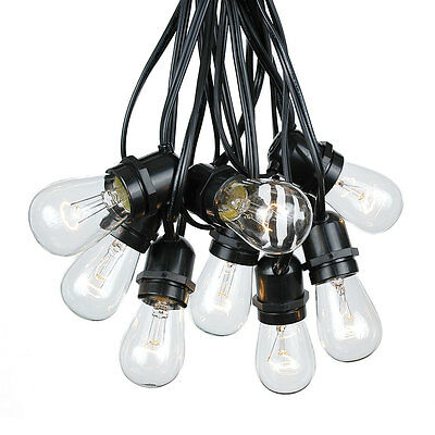 100 Foot S14 Outdoor Globe String Lights - Set of 50 Clear S14 Edison Bulbs