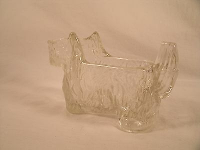 Vintage 1930s LE SMITH Scottish Terrier Dog Clear Cut Glass Creamer / Candy Dish