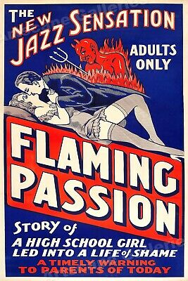 """1930 Adult Vintage Style Movie Poster """"Flaming Passion"""" - 16x24"""